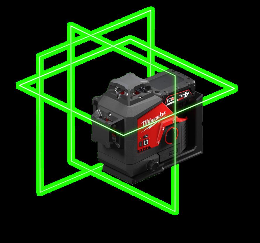 REDLITHIUM™USB Laser vert 2 lignes avec aplomb
