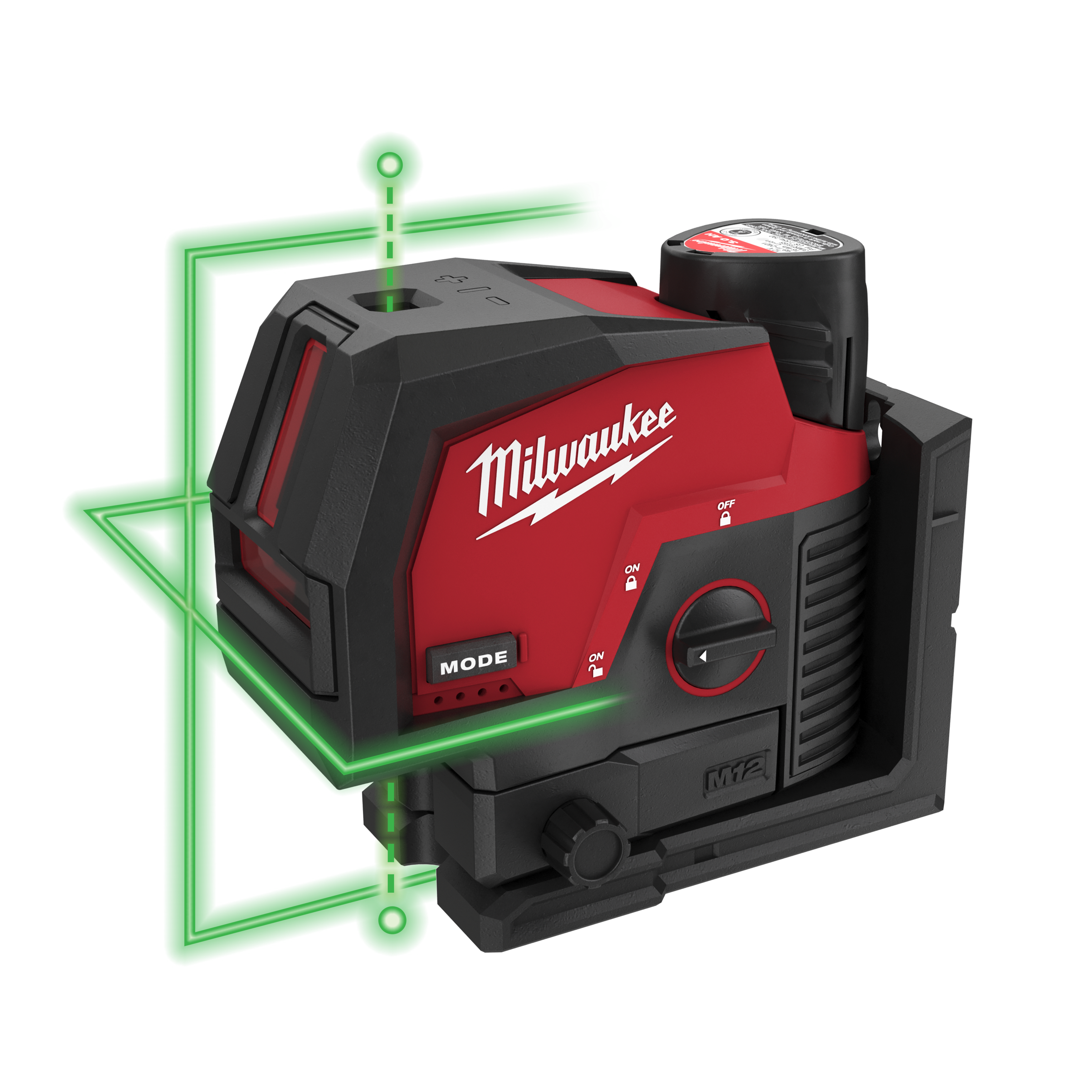 M12™ green cross line laser with plumb points